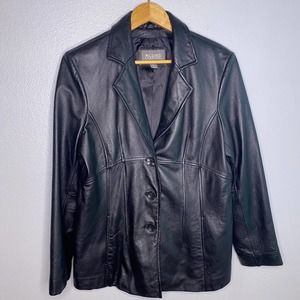 Wilson's Black Genuine Leather Jacket Sz Large